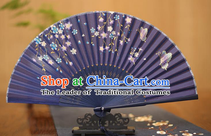 Traditional Chinese Crafts Printing Flowers Butterfly Purple Folding Fan, China Sensu Paper Fans for Women