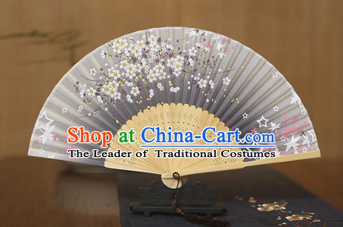 Traditional Chinese Crafts Printing Flowers Grey Folding Fan, China Sensu Paper Fans for Women