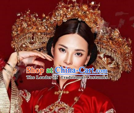 Asian Chinese Ancient Handmade Classical Hair Accessories Hairpins Wedding Luxurious Phoenix Coronet Complete Set for Women