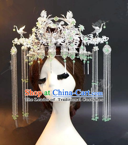 Asian Chinese Ancient Handmade Classical Hair Accessories Hairpins Xiuhe Suit Phoenix Coronet for Women