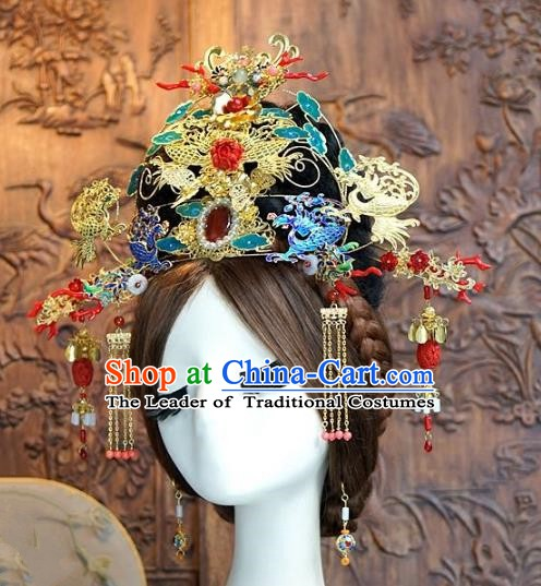 Chinese Handmade Classical Hairpins Hair Accessories Ancient Blueing Phoenix Coronet Complete Set for Women