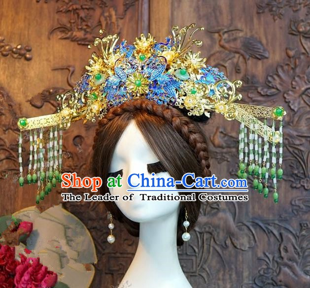 Chinese Handmade Classical Hair Accessories Ancient Tang Dynasty Blueing Phoenix Coronet Hairpins for Women