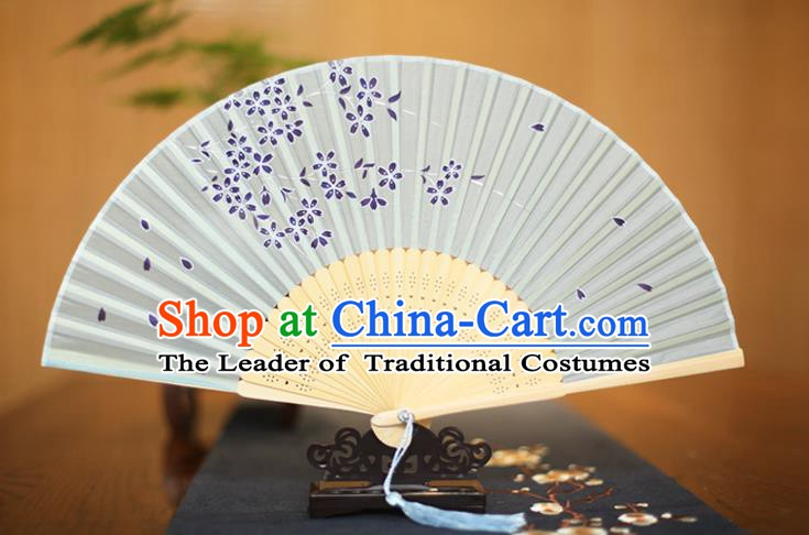 Traditional Chinese Crafts Printing Sakura Grey Folding Fan, China Sensu Paper Fans for Women