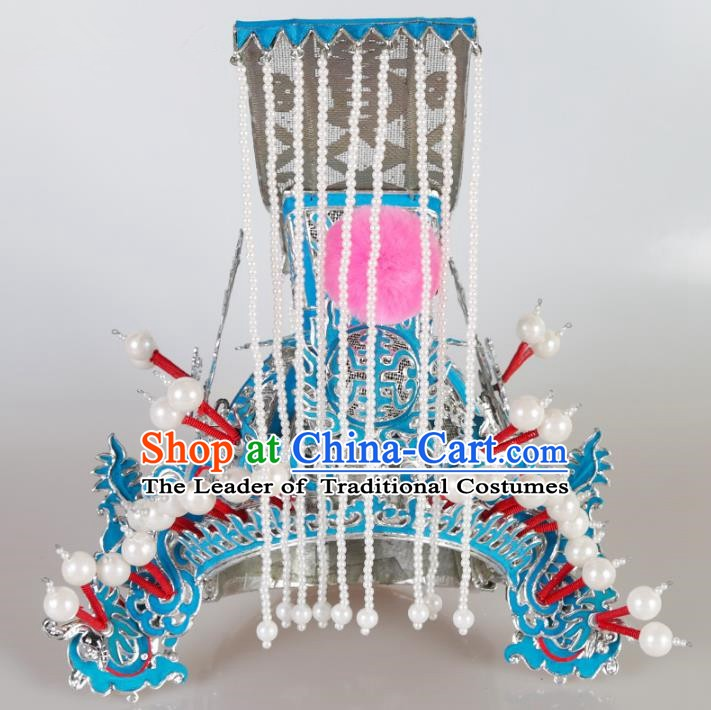 Chinese Beijing Opera General Tassel Headpiece, China Peking Opera Takefu Helmet