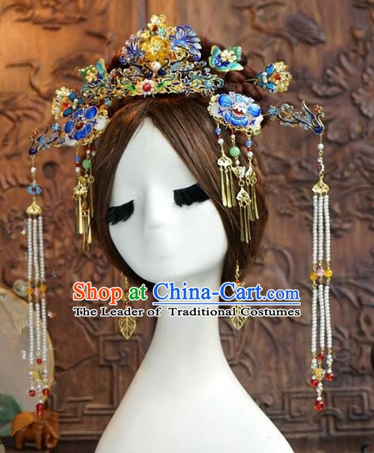 Chinese Ancient Handmade Classical Wedding Hair Accessories Blueing Phoenix Coronet Xiuhe Suit Bride Hairpins for Women