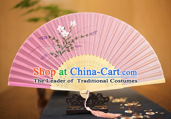Traditional Chinese Crafts Printing Orchid Pink Folding Fan, China Sensu Paper Fans for Women