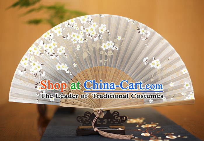 Traditional Chinese Crafts Printing Begonia Grey Folding Fan, China Sensu Paper Fans for Women