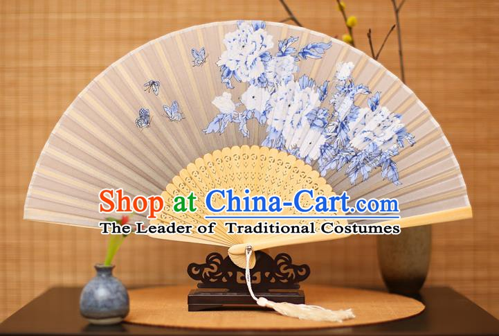 Traditional Chinese Crafts Printing Peony White Folding Fan, China Sensu Paper Fans for Women