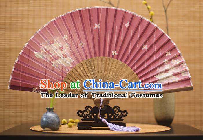 Traditional Chinese Crafts Printing Flowers Red Folding Fan, China Sensu Paper Fans for Women