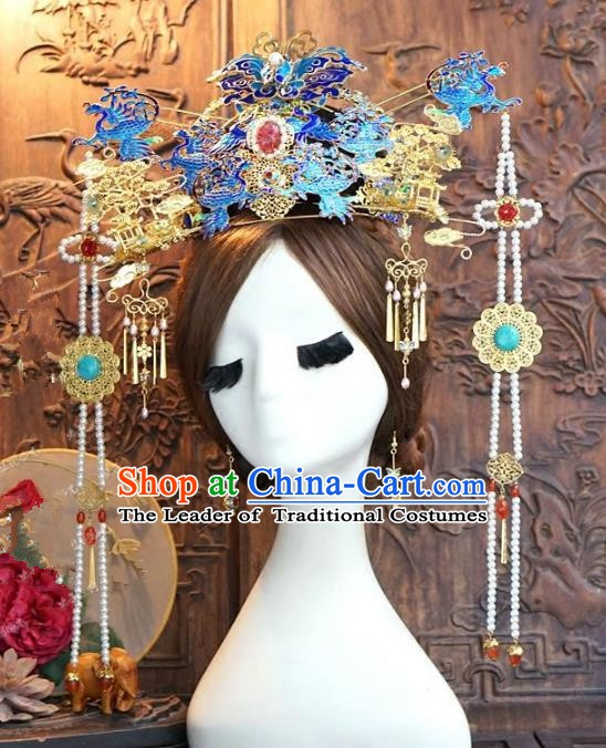 Chinese Handmade Classical Hair Accessories Ancient Ming Dynasty Palace Lady Hairpins Blueing Phoenix Coronet for Women