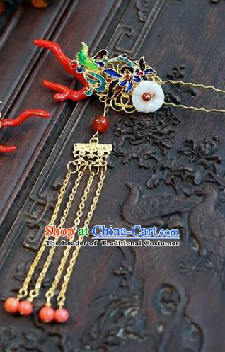 Chinese Ancient Handmade Classical Wedding Hair Accessories Xiuhe Suit Crane Hairpins Complete Set for Women