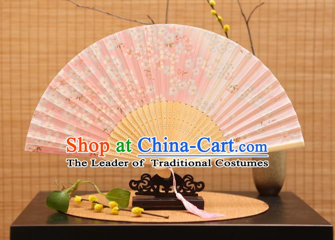 Traditional Chinese Crafts Printing Flowers Pink Folding Fan, China Sensu Paper Fans for Women