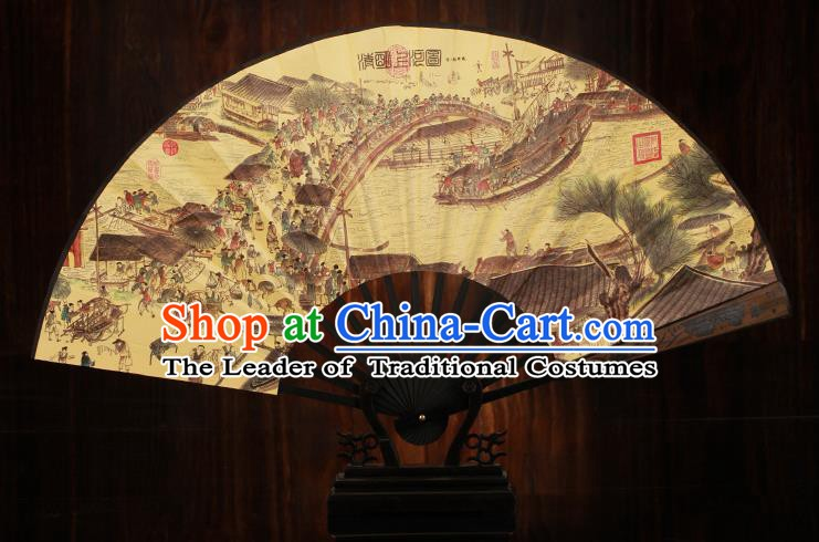 Traditional Chinese Crafts Printing Riverside Scene at Qingming Festival Folding Fan, China Sculpture Framework Silk Fans for Men
