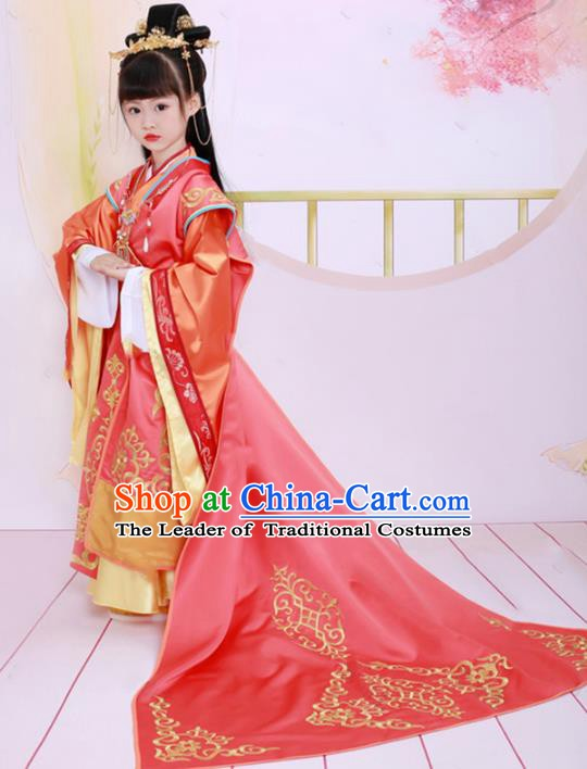 Traditional Chinese Tang Dynasty Court Lady Costume, China Ancient Imperial Concubine Embroidered Clothing for Kids
