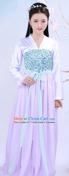 Traditional Chinese Tang Dynasty Young Lady Costume, China Ancient Imperial Princess Embroidered Dress for Women