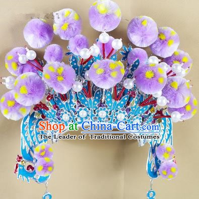 Chinese Beijing Opera Warriors Lilac Venonat Headpiece, China Peking Opera Blues Helmet