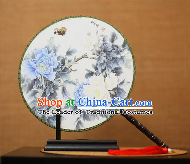 Traditional Chinese Crafts Printing Peony Flowers Round Fan, China Palace Fans Princess Silk Circular Fans for Women