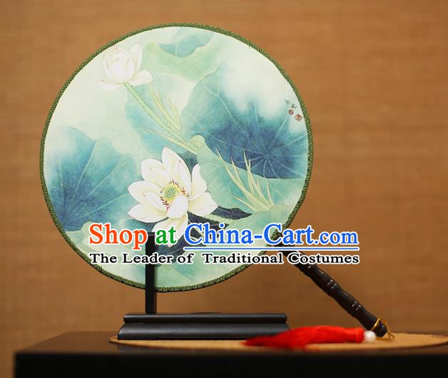 Traditional Chinese Crafts Printing Lotus Round Fan, China Palace Fans Princess Green Silk Circular Fans for Women