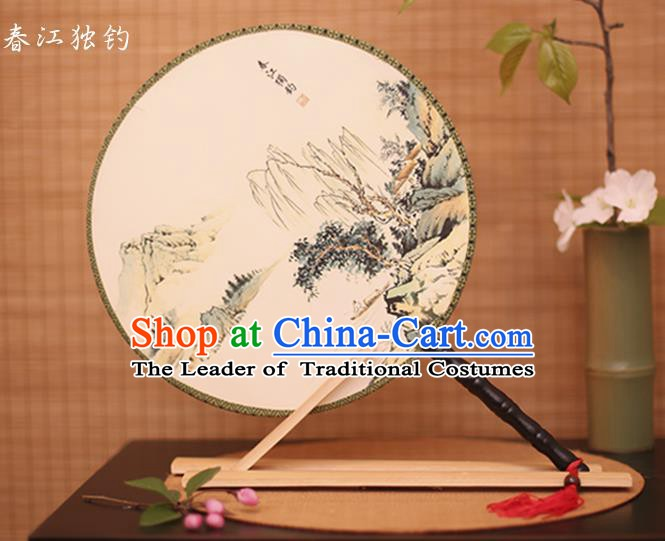 Traditional Chinese Crafts Printing Riverside Fishing White Round Fan, China Palace Fans Princess Silk Circular Fans for Women