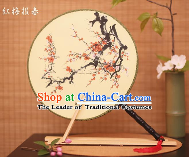 Traditional Chinese Crafts Printing Red Plum White Round Fan, China Palace Fans Princess Silk Circular Fans for Women