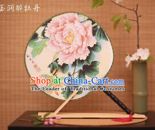 Traditional Chinese Crafts Printing Peony White Round Fan, China Palace Fans Princess Silk Circular Fans for Women