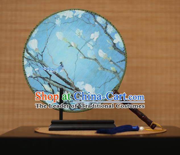 Traditional Chinese Crafts Printing Magnolia Blue Round Fan, China Palace Fans Princess Silk Circular Fans for Women