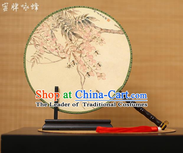 Traditional Chinese Crafts Printing Flowers Round Fan, China Palace Fans Princess Silk Circular Fans for Women