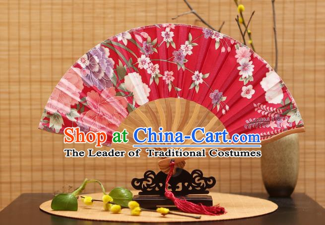 Traditional Chinese Crafts Printing Red Silk Folding Fan Sensu Fans for Women