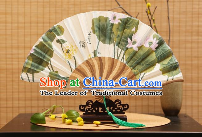 Traditional Chinese Crafts Printing Lotus Silk Folding Fan Sensu Fans for Women