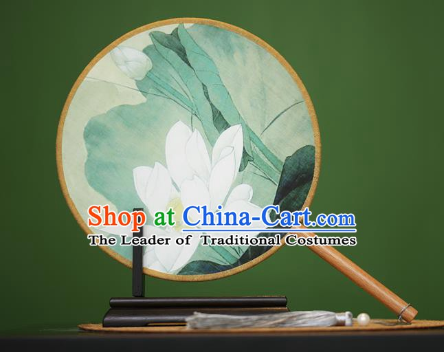 Traditional Chinese Crafts Painting Lotus Rosewood Round Fan, China Palace Fans Princess Silk Circular Fans for Women