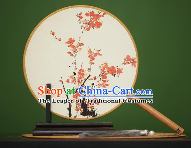 Traditional Chinese Crafts Painting Plum Blossom Rosewood Round Fan, China Palace Fans Princess Silk Circular Fans for Women
