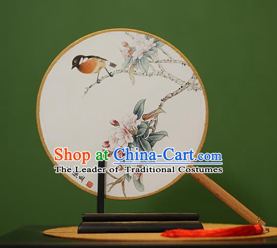 Traditional Chinese Crafts Painting Flowers Bird Rosewood Round Fan, China Palace Fans Princess Silk Circular Fans for Women