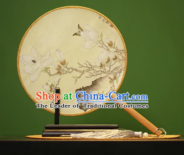 Traditional Chinese Crafts Painting Magnolia Rosewood Round Fan, China Palace Fans Princess Silk Circular Fans for Women