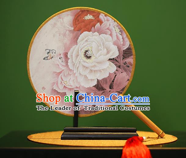 Traditional Chinese Crafts Painting Peony Rosewood Round Fan, China Palace Fans Princess Silk Circular Fans for Women
