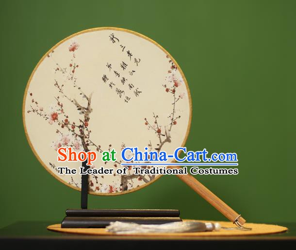 Traditional Chinese Crafts Ink Painting Wintersweet Rosewood Round Fan, China Palace Fans Princess Silk Circular Fans for Women