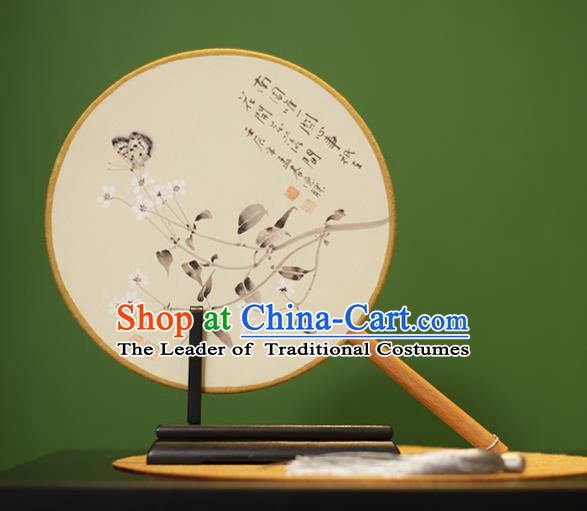 Traditional Chinese Crafts Ink Painting Butterfly Flowers Rosewood Round Fan, China Palace Fans Princess Silk Circular Fans for Women