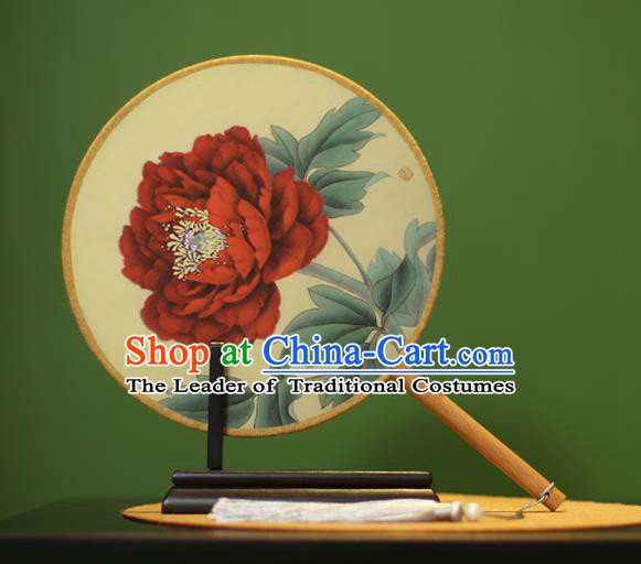 Traditional Chinese Crafts Painting Red Peony Round Fan, China Palace Fans Princess Silk Circular Fans for Women