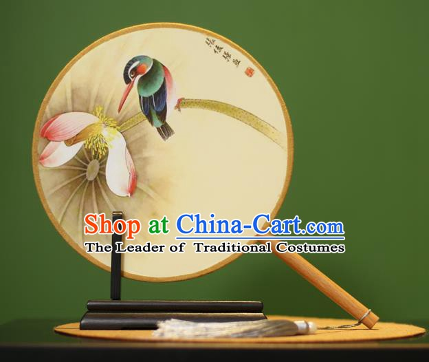 Traditional Chinese Crafts Painting Bird Lotus Round Fan, China Palace Fans Princess Silk Circular Fans for Women