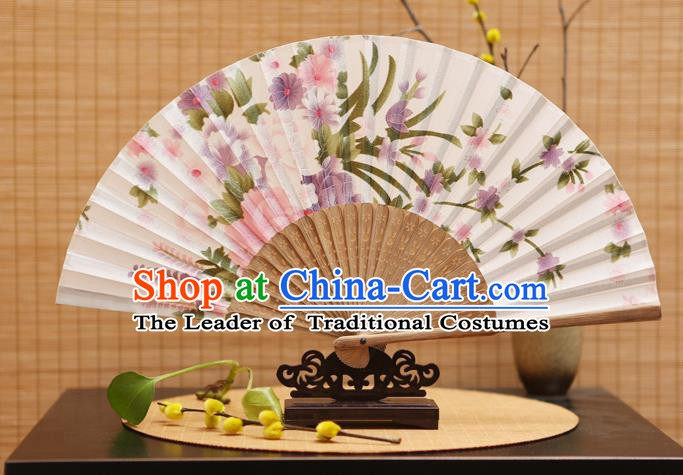 Traditional Chinese Crafts Folding Fans Printing Peony Flowers White Silk Fan for Women