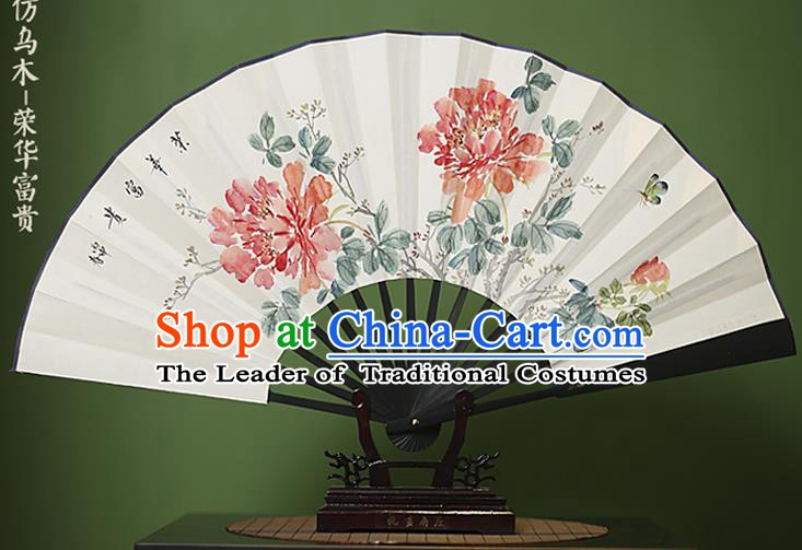 Traditional Chinese Crafts Ink Painting Peony Folding Fan Paper Fans for Women