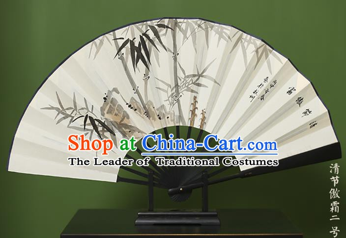 Traditional Chinese Crafts Ink Painting Bamboo Stone Folding Fan Paper Fans for Women