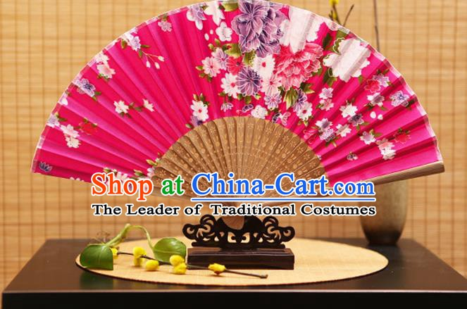 Traditional Chinese Crafts Folding Fans Printing Flowers Rosy Silk Fan for Women