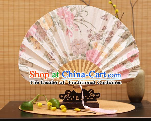 Traditional Chinese Crafts Shell Silk Folding Fan Printing Flowers Bamboo Fans for Women
