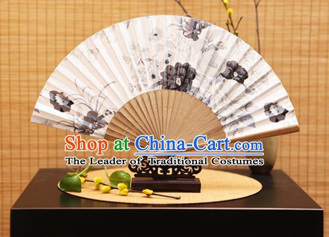 Traditional Chinese Crafts Folding Fans Ink Painting Peony White Silk Fan for Women