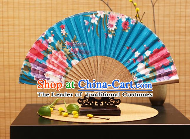 Traditional Chinese Crafts Folding Fans Printing Peony Flowers Blue Silk Fan for Women