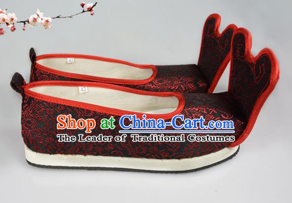 Asian Chinese Wedding Shoes Black Embroidered Shoes, Traditional China Princess Shoes Bride Hanfu Shoes