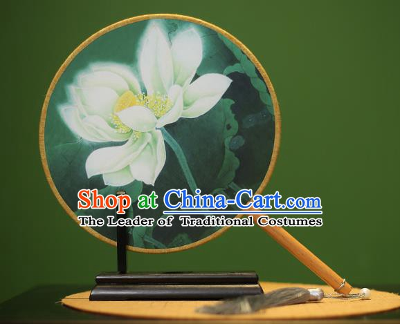 Traditional Chinese Crafts Printing Lotus Green Round Fan, China Palace Fans Princess Silk Circular Fans for Women