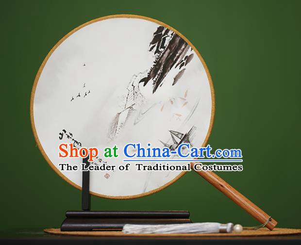 Traditional Chinese Crafts Ink Painting Rosewood Round Fan, China Palace Fans Princess Silk Circular Fans for Women