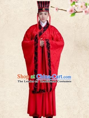 Traditional Chinese Ancient Bridegroom Wedding Costume, China Han Dynasty Minister Embroidered Hanfu Clothing for Men