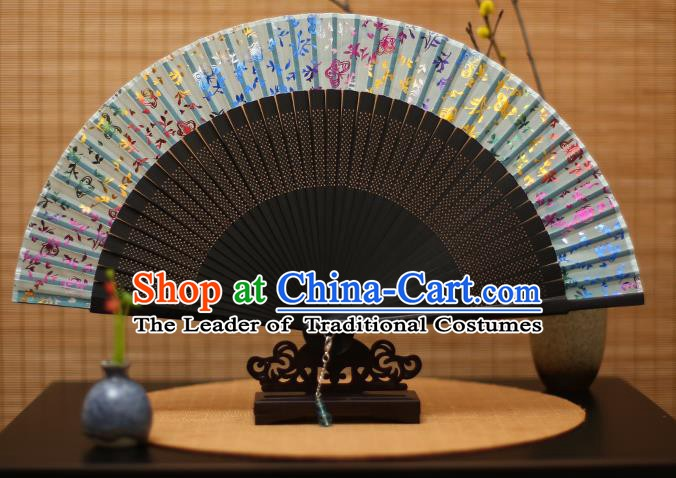 Traditional Chinese Crafts Printing Flowers Green Silk Folding Fan Sensu Fans for Women
